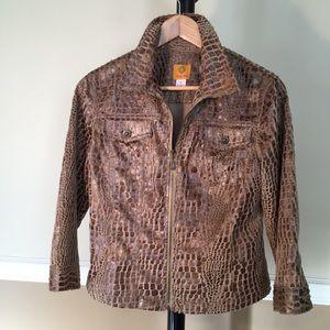 Ruby Red Jean style zipper jacket